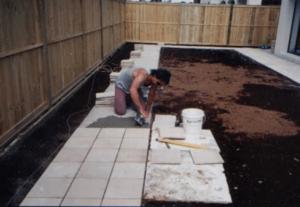 sandstone tiles installation by Jake Pacek